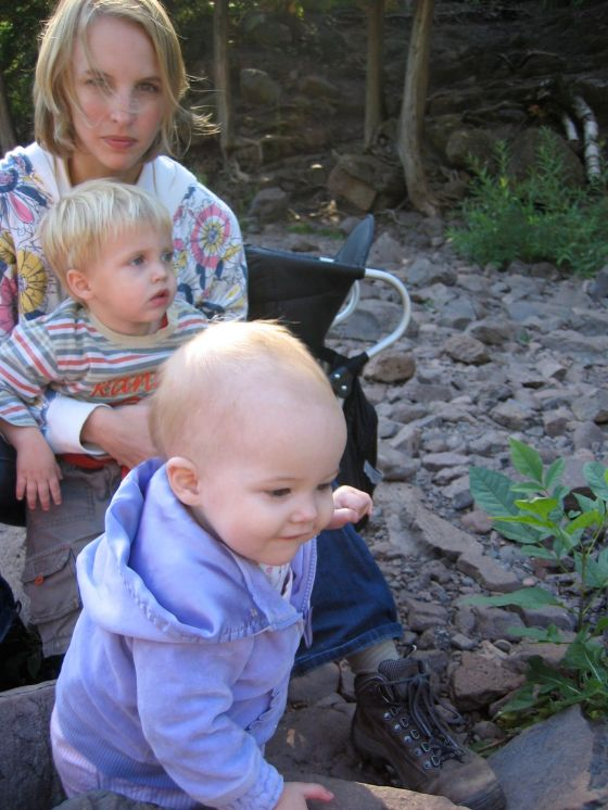 Gooseberry Falls, two babies climbing rocks
